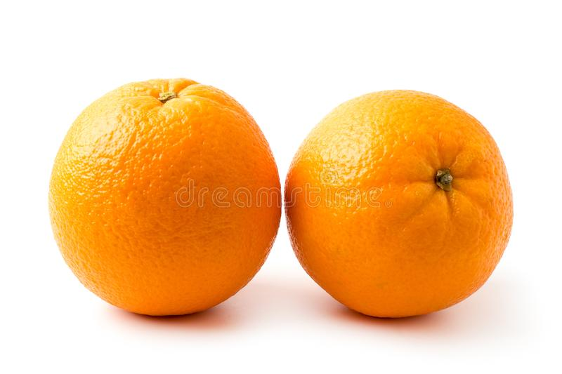 Two ripe oranges closeup. stock photography
