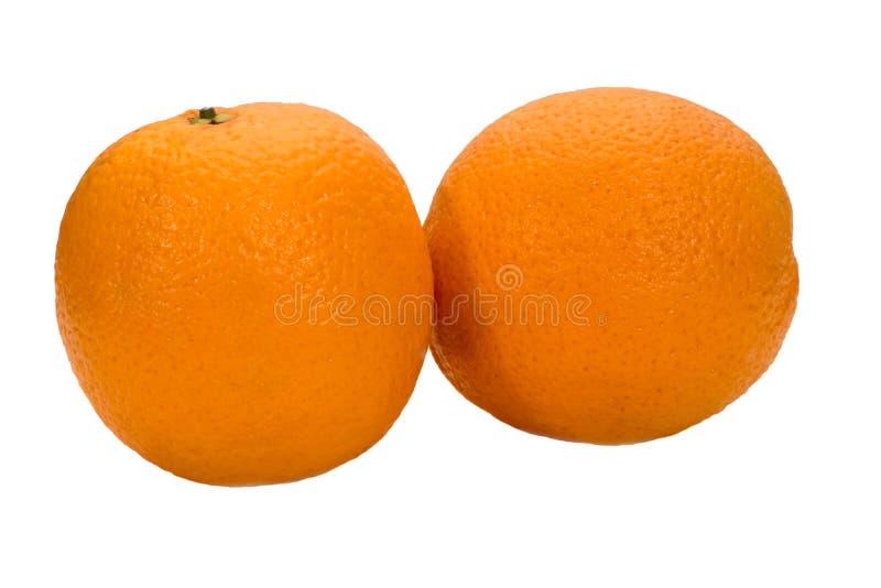 Two ripe oranges on a white background stock photos