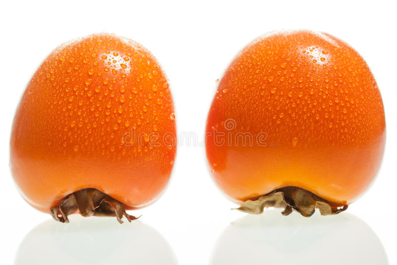 Two ripe persimmons royalty free stock photos