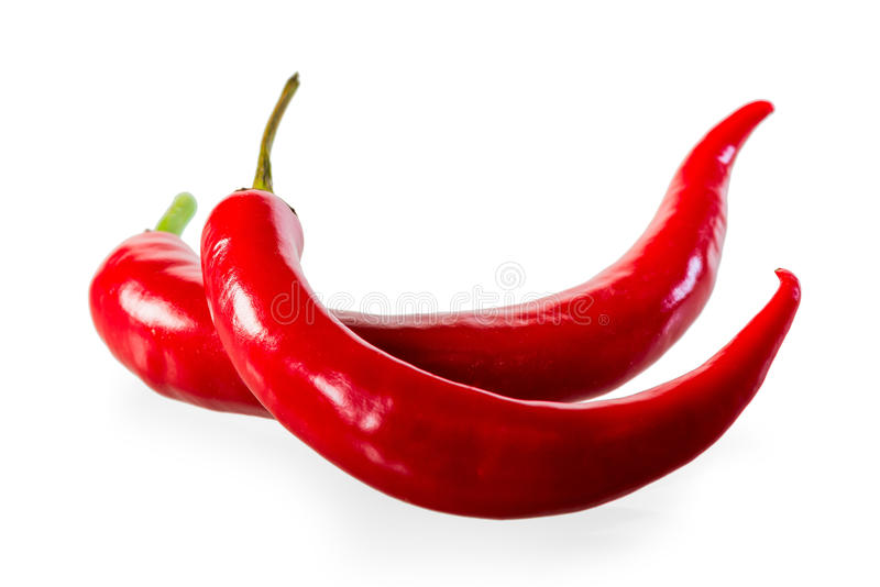 Two ripe red hot chili peppers stock photos