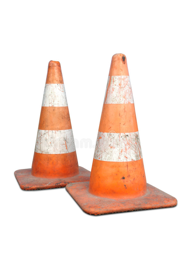 Download Two road cones stock photo. Image of guard, grunge, isolated - 4590412