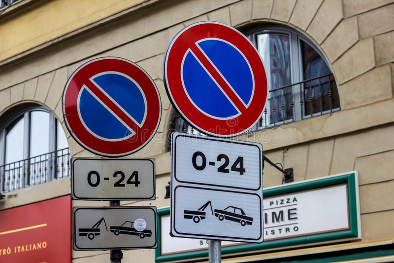 Road signs with no parking with removal of the vehicle. stock images