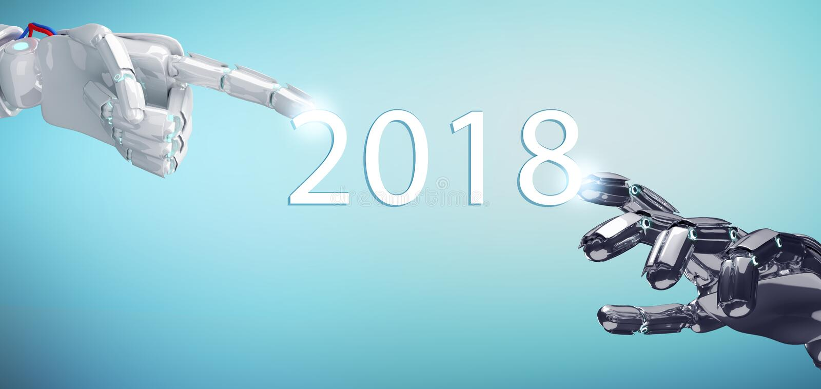Two robotic hand touch date of new year 2018. royalty free illustration
