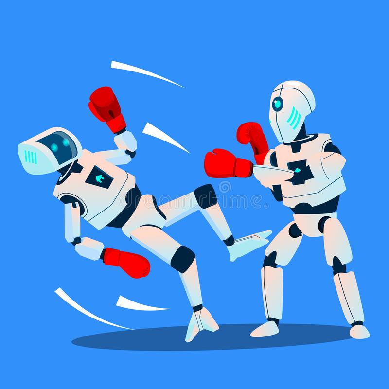 Two Robots Boxing On Ring Vector. Isolated Illustration vector illustration