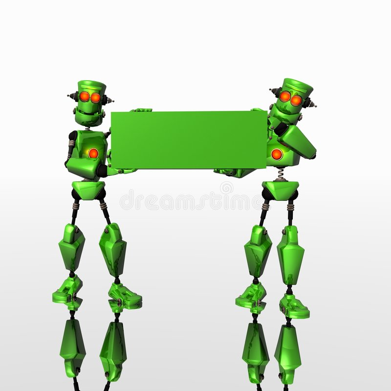 Two Robots with logo. Green Robots with blank logo banner stock illustration