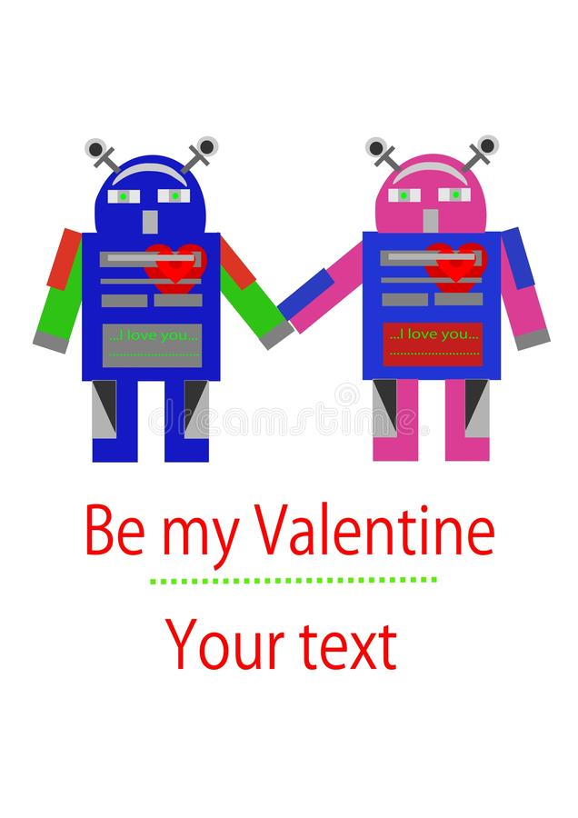 Two Robots In Love Royalty Free Stock Image