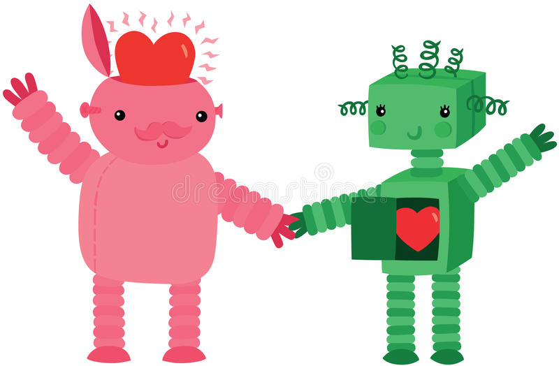 Two Robots In Love. Two Cute Robots In Love Holding Hands vector illustration