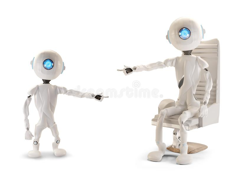 Two robots pointing at each other 3d-illustration stock illustration