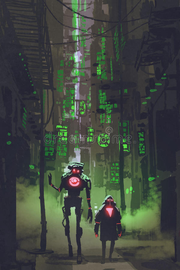 Two robots walking in narrow alley vector illustration