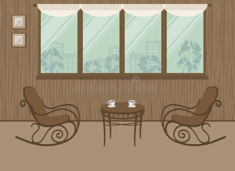 Two rocking chairs and a coffee table on the window background. Interior of balcony-loggia with wooden walls. There are also pictures on the wall in the image vector illustration