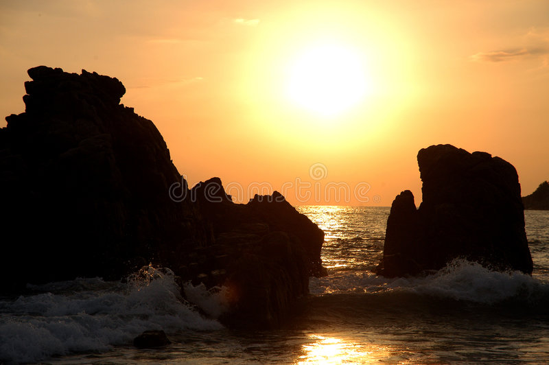 Two rocks in ocean - Mexico royalty free stock photography