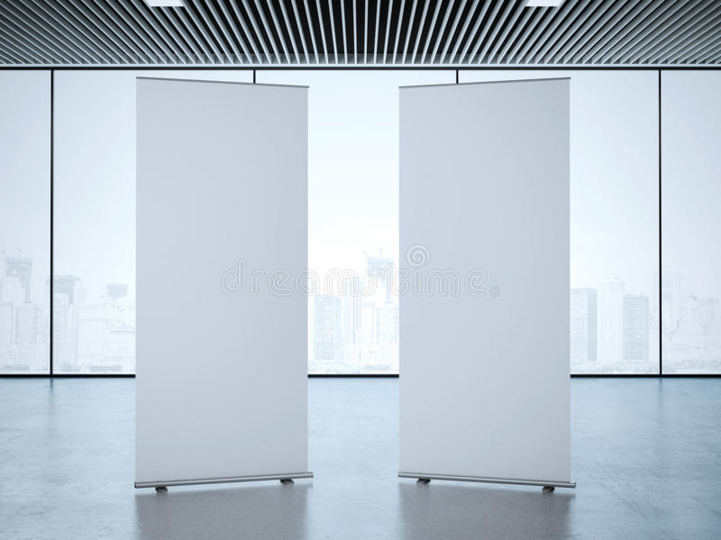 Two roll up banners at office. 3d rendering stock photo