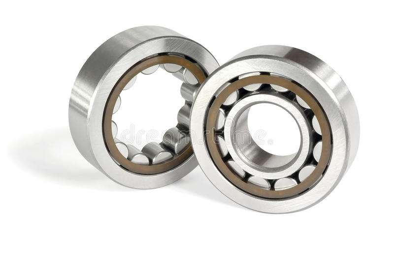 Two roller bearings. On a white background royalty free stock image