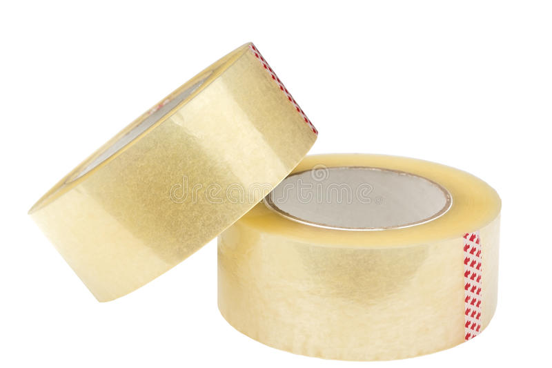 Two rolls of adhesive tape. Isolated on white background. Clipping path is saved stock photo