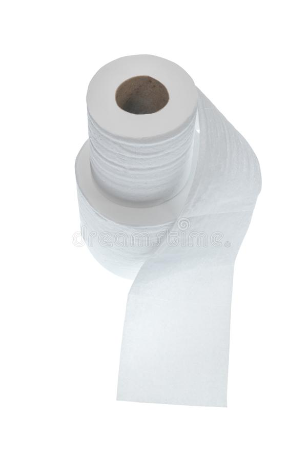 Two Rolls of Toilet Paper Isolated on White With Copy Space stock images