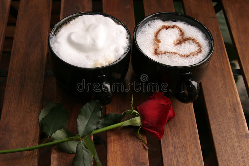 Two Romantic Coffees royalty free stock image