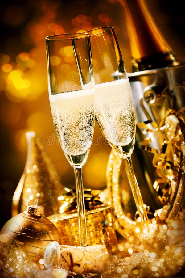 Two romantic effervescent flutes of champagne royalty free stock photography