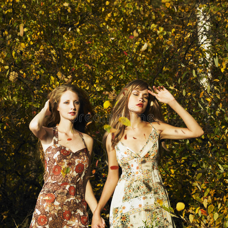 Download Two romantic girl stock photo. Image of colorful, golden - 16706884