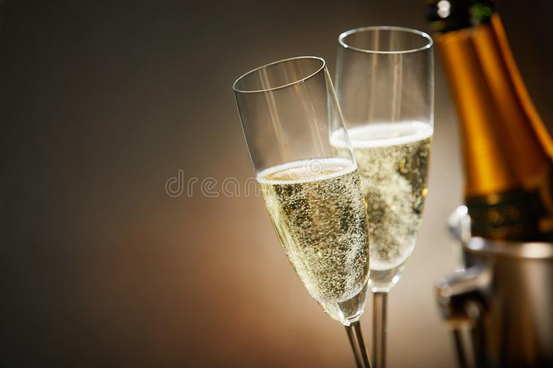 Two romantic glasses of sparkling champagne stock photo