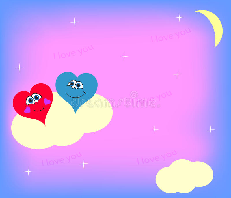 Two romantic hearts on a cloud near the moon. The picture for St. Valentine`s Day vector illustration