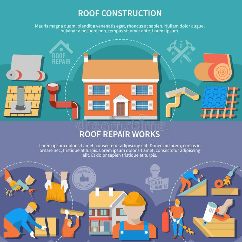 Two Roofer Banner Set. Two flat and horizontal roofer banner set with roof construction and repair works headlines vector illustration vector illustration