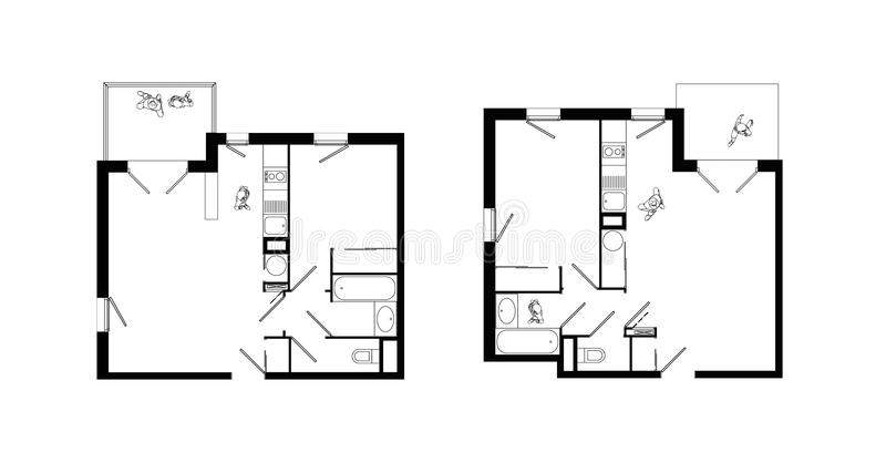 Two rooms apartment plans set stock illustration for Apartment stock plans