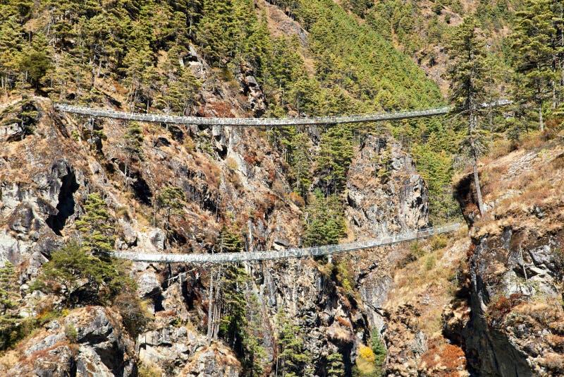Two rope hanging suspension bridges in Nepal Himalayas under Namche Bazar above Dudh Koshi Nadi river, Mount Everest base camp. Trekking trail royalty free stock image