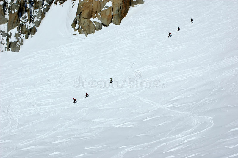 Download Two Rope Teams Of Climbers On The Mt Blanc Royalty Free Stock Images - Image: 6949849