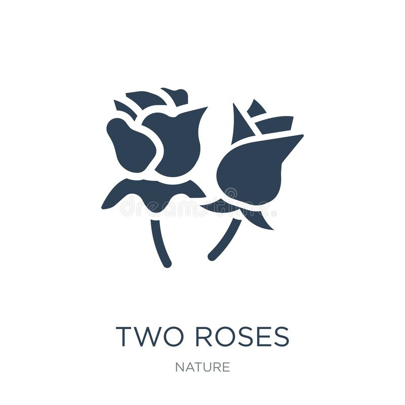 Two roses icon in trendy design style. two roses icon isolated on white background. two roses vector icon simple and modern flat. Symbol for web site, mobile royalty free illustration