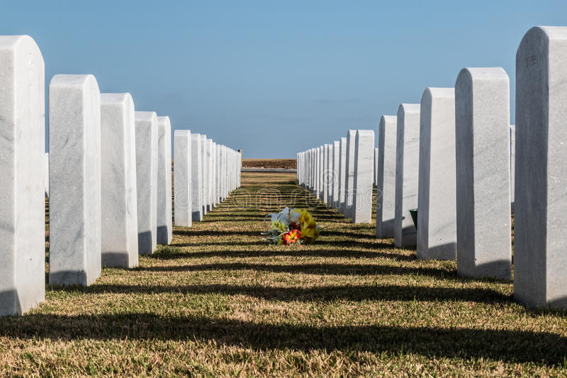 Two Rows of Tombstones and Flowers at Miramar National Cemetery. Two rows of tombstones and bouquet of flowers at Miramar National Cemetery in San Diego royalty free stock images
