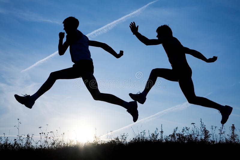 Two runners royalty free stock photos
