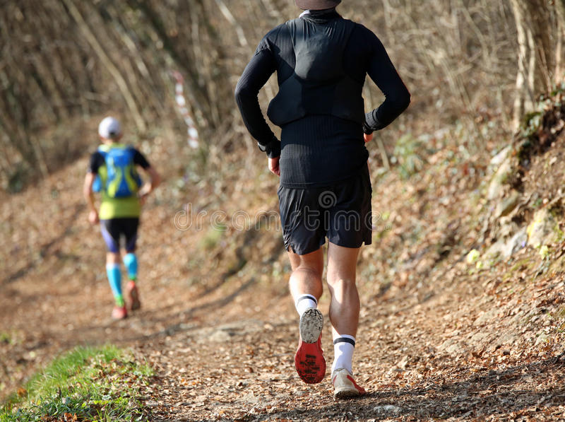 Two runners from behind run along the mountain trail royalty free stock photography