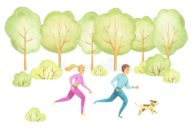 Two running people man and woman on run workout in spring park with green grass, trees. Watercolor. Two running people man and woman on run workout in spring vector illustration