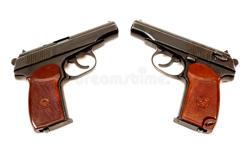 Download Two russian 9mm handguns stock photo. Image of compact - 9184268