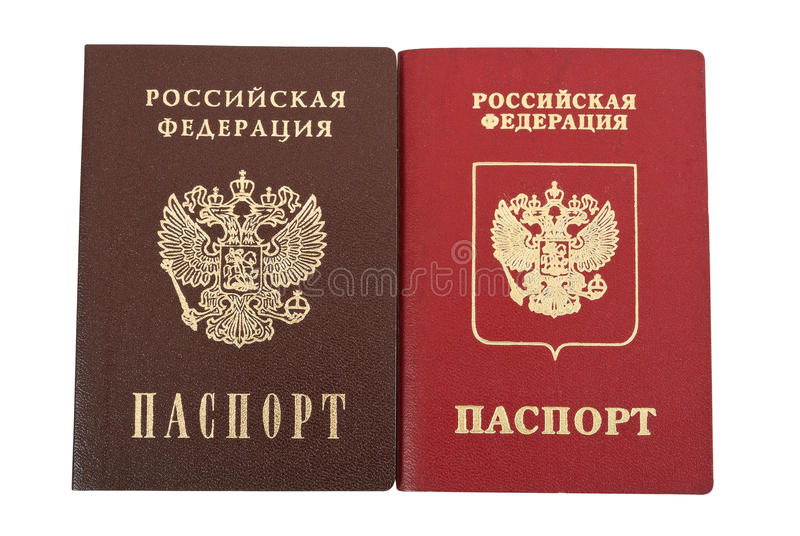 Two russian passports. National and international type royalty free stock photos