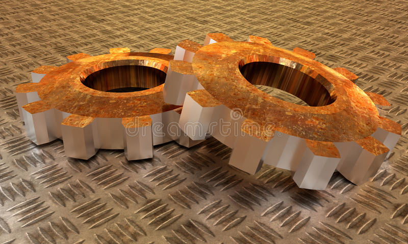 Two rusty gears lying one upon another stock illustration