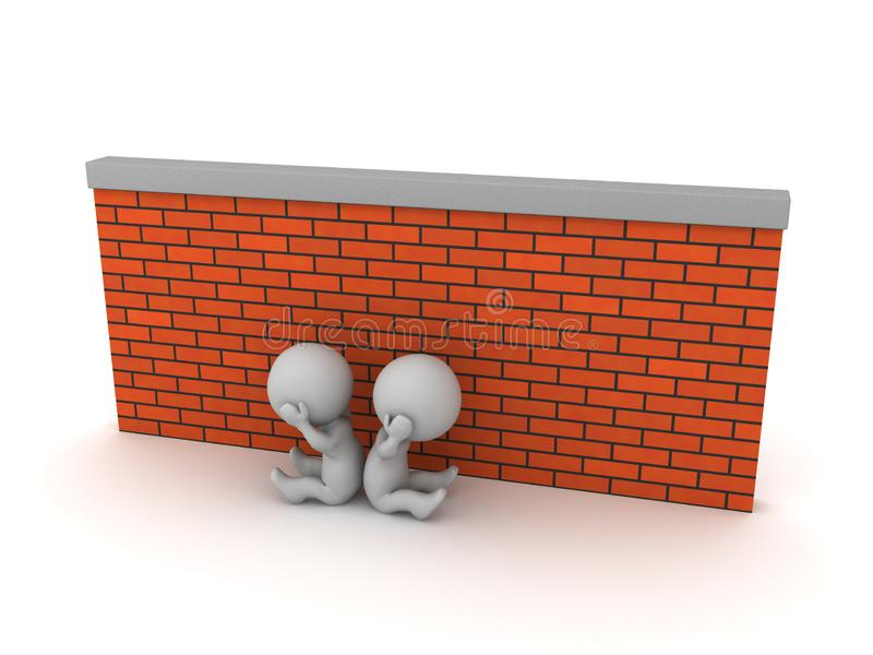 Two Sad 3D Characters Sitting Down Next to a Brick Wall. Two upset 3D characters are sitting down next to a brick wall. Isolated on white background vector illustration