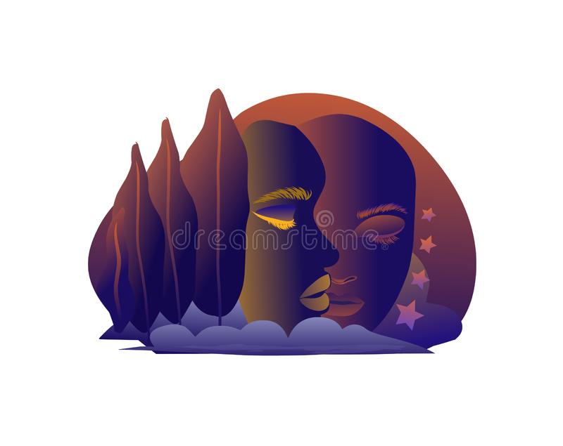 Two sad faces abstract. Vector editable file as eps royalty free illustration
