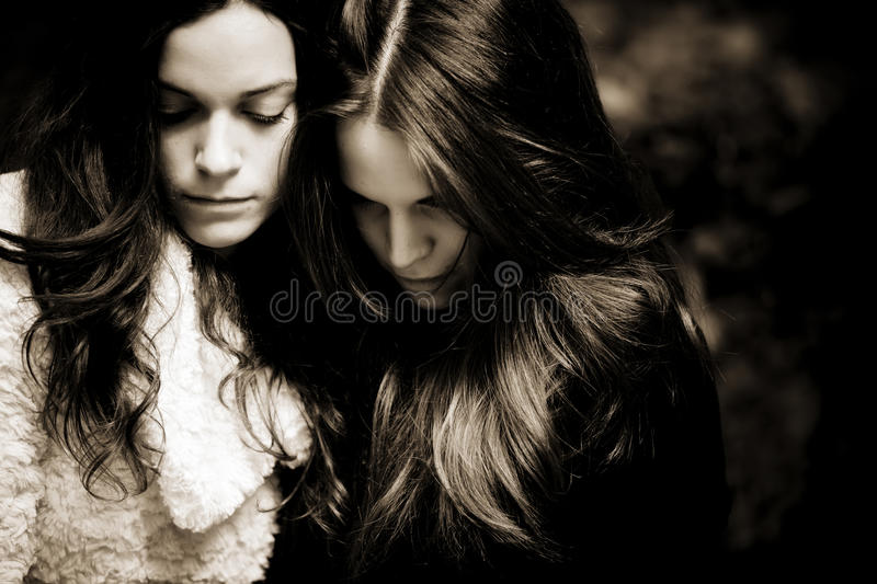 Download Two sad girls stock photo. Image of monochrome, upset - 11971454