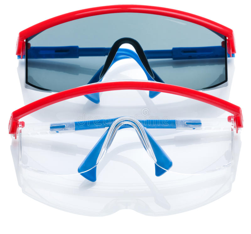 Two safety glasses isolated royalty free stock image