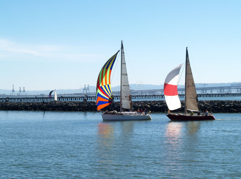Two Sailboats under Spinnakers running into port. Sailboats under spinnaker sails running into the marina royalty free stock images