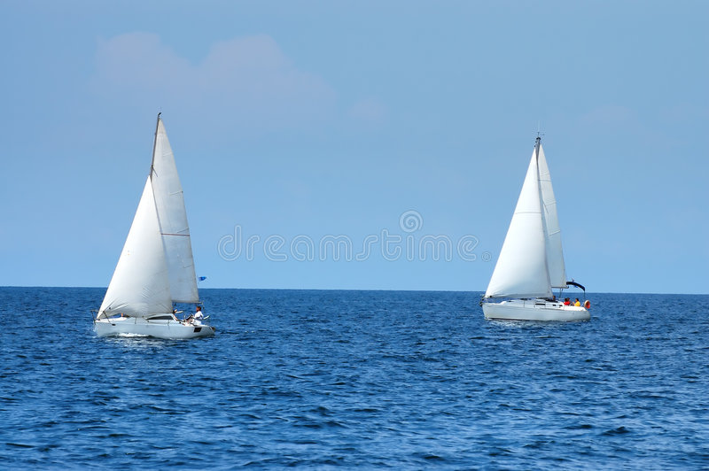 Two sailing ships stock photo