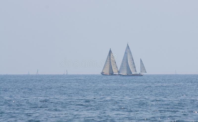 Two ships racing royalty free stock photo