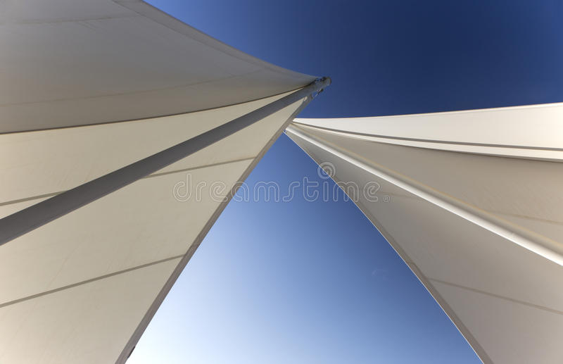 Two sails crossing stock photo