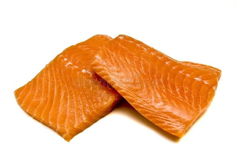 Two Salmon Fillets. Two fresh salmon fillets on a white background royalty free stock photo