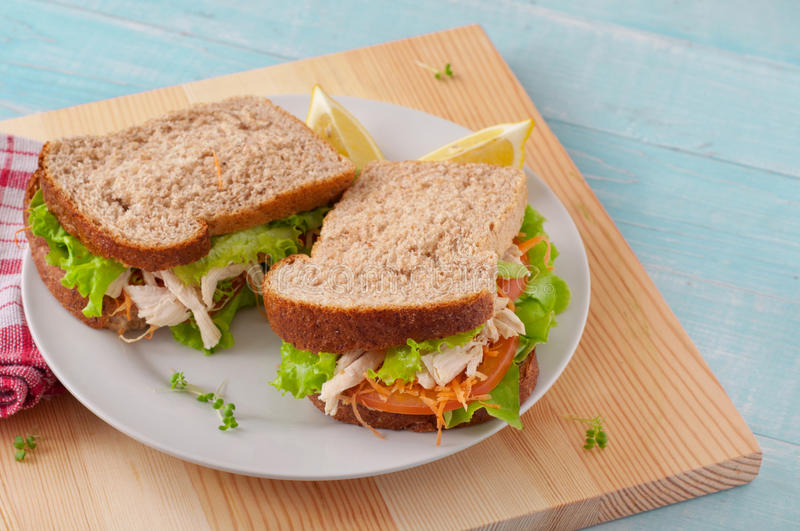 Two sandwich with chicken on a white plate royalty free stock photography