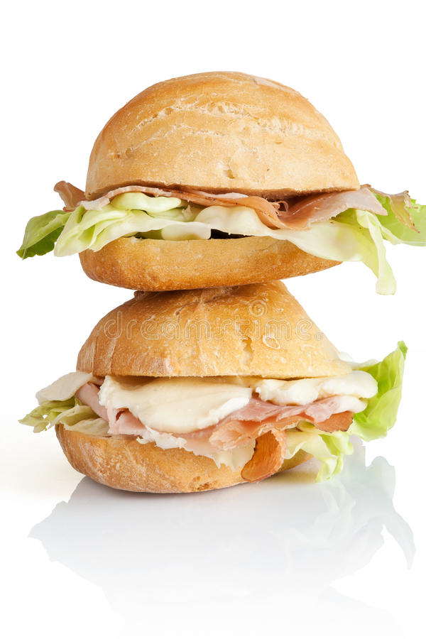 Two sandwiches royalty free stock photos