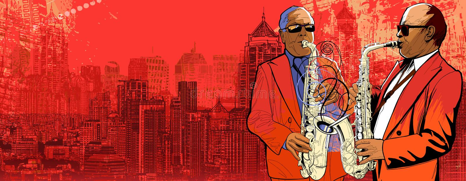 Download Two Saxophonist Over A Background Panoramic View O Royalty Free Stock Photos - Image: 24977818