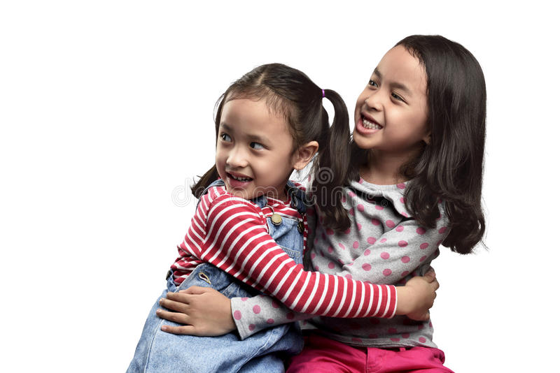 Two scared asian little girls expression royalty free stock image