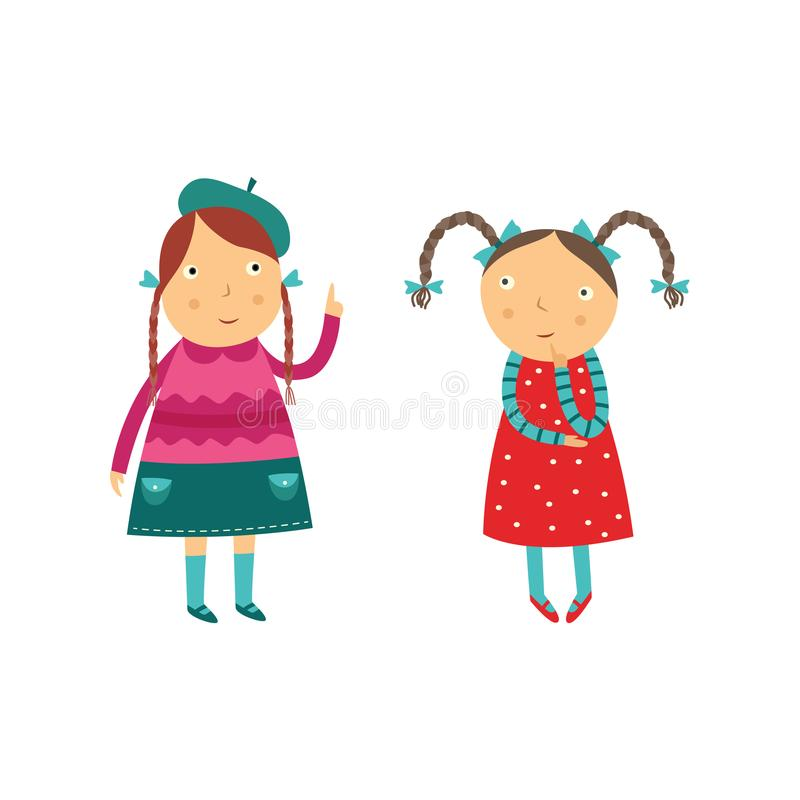 Two school age girls think about some question and conversate isolated on white background. Cute flat cartoon characters of kids making decision. Vector stock illustration